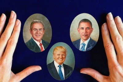 portrait miniature painting of President George W. Bush by Wes Siegrist, Barack Obama and Donald Trump by Rachelle Siegrist